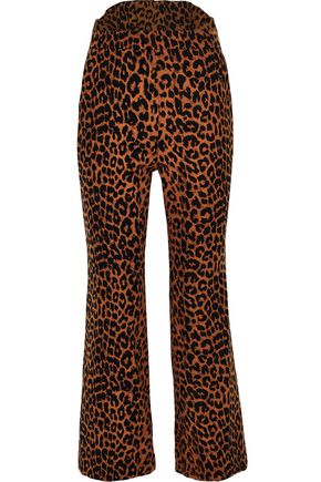 PUSHBUTTON Leopard-print cotton bootcut pants