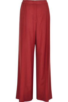 AGNONA Pleated wool and cashmere-blend wide-leg pants
