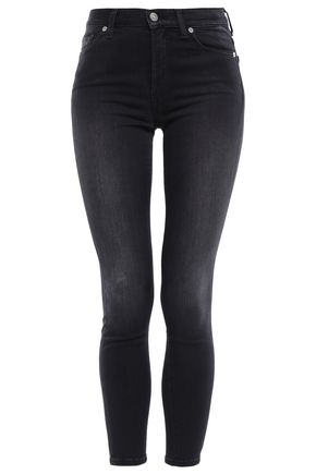 7 FOR ALL MANKIND Cropped faded high-rise skinny jeans