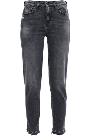 7 FOR ALL MANKIND Embellished distressed high-rise straight-leg jeans