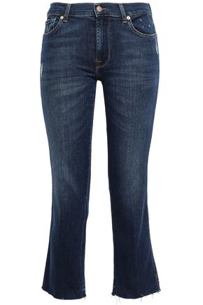 7 FOR ALL MANKIND Cropped distressed faded mid-rise bootcut jeans