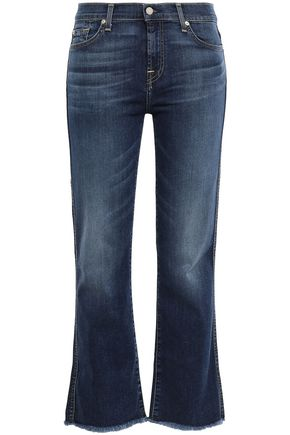7 FOR ALL MANKIND Cropped frayed mid-rise bootcut jeans