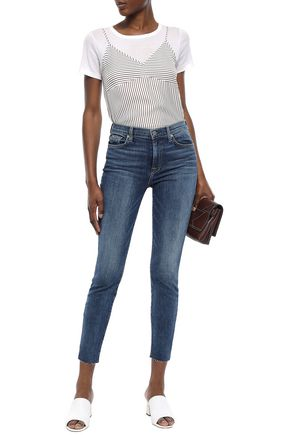 7 FOR ALL MANKIND Frayed high-rise skinny jeans