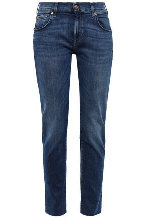 7 FOR ALL MANKIND Frayed high-rise slim-leg jeans