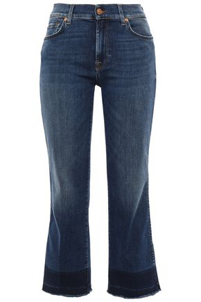 7 FOR ALL MANKIND Cropped faded high-rise bootcut jeans