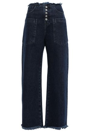 7 FOR ALL MANKIND Frayed high-rise wide-leg jeans