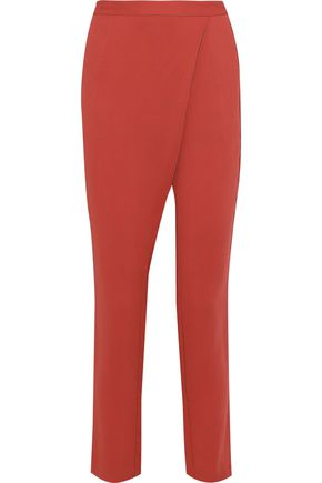 MICHELLE MASON Wrap-effect crepe straight-leg pants