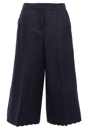 KATE SPADE New York Scalloped silk and linen-blend culottes
