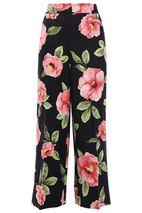 KATE SPADE New York Cropped floral-print silk and linen-blend wide-leg pants