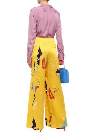 ROKSANDA Printed silk-satin wide-leg pants