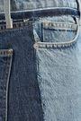 CURRENT/ELLIOTT Frayed two-tone high-rise straight-leg jeans