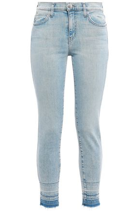 CURRENT/ELLIOTT Frayed high-rise skinny jeans