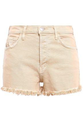 CURRENT/ELLIOTT Distressed frayed denim shorts