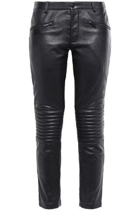 STAND STUDIO Paneled leather slim-leg pants