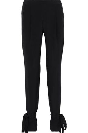 MICHELLE MASON Ninja bow-detailed silk crepe de chine slim-leg pants