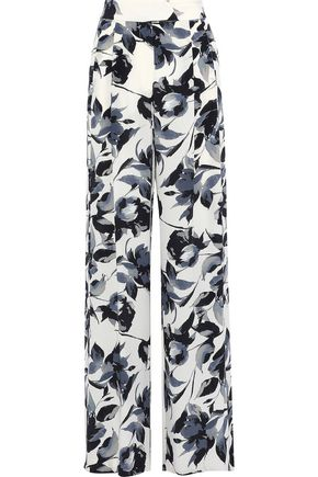 MICHELLE MASON Pleated floral-print silk crepe de chine wide-leg pants
