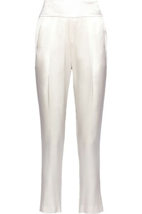 MICHELLE MASON Silk-charmeuse slim-leg pants