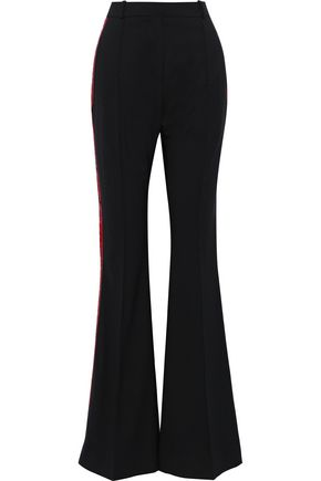 FAITH CONNEXION Embroidered satin-trimmed twill flared pants