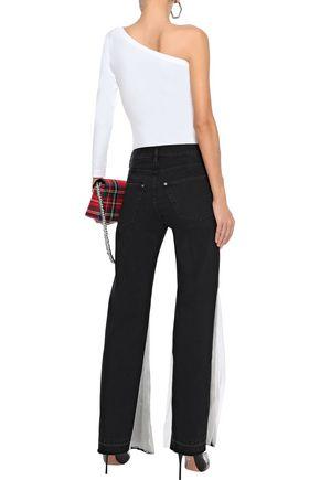 FAITH CONNEXION Chiffon-paneled mid-rise flared jeans