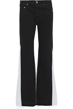 FAITH CONNEXION Chiffon-paneled mid-rise flared jeans