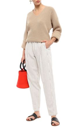 RAQUEL ALLEGRA Striped cotton tapered pants