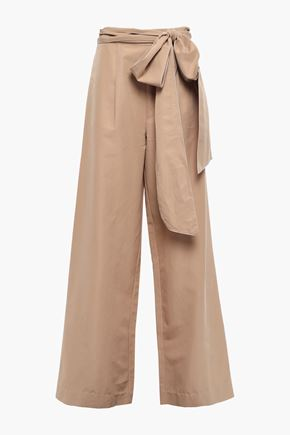 RACHEL GILBERT Cher belted cotton and silk-blend wide-leg pants