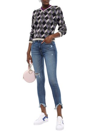 7 FOR ALL MANKIND Distressed high-rise skinny jeans