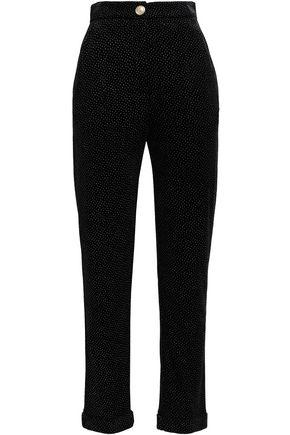 BALMAIN Glittered velvet slim-leg pants