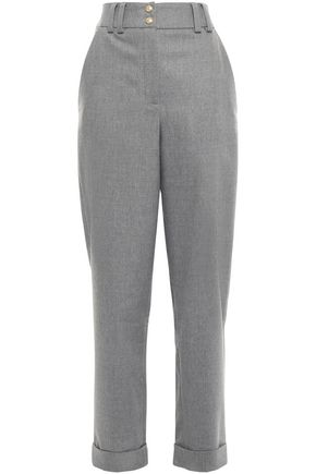 BALMAIN Mélange wool-blend flannel tapered pants