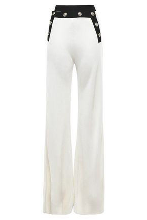 BALMAIN Button-embellished waffle-knit wide-leg pants