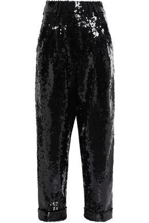 BALMAIN Sequined tulle straight-leg pants