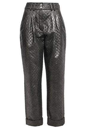 BALMAIN Quilted metallic jersey tapered pants