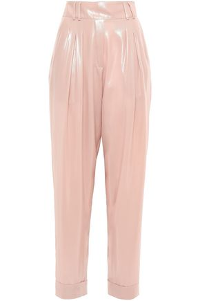 BALMAIN Coated crepe wide-leg pants