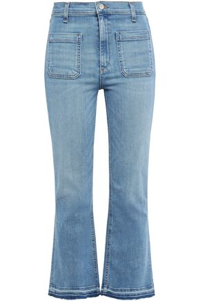 VERONICA BEARD Frayed high-rise kick-flare jeans