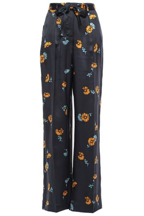 EQUIPMENT Floral-print silk-satin wide-leg pants