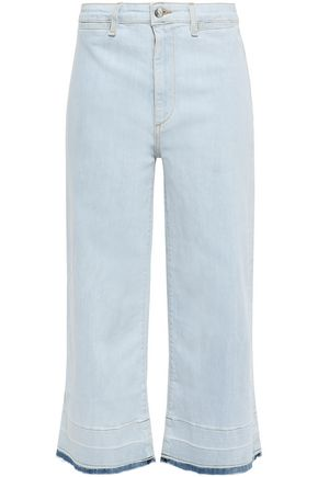 VERONICA BEARD Cropped high-rise wide-leg jeans