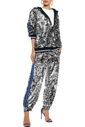 MSGM Intarsia-trimmed sequined cotton track pants