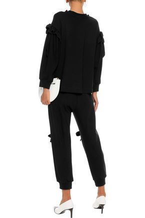 SIMONE ROCHA Cropped bow-embellished stretch-knit track pants