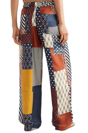 TORY BURCH Patchwork silk-twill wide-leg pants