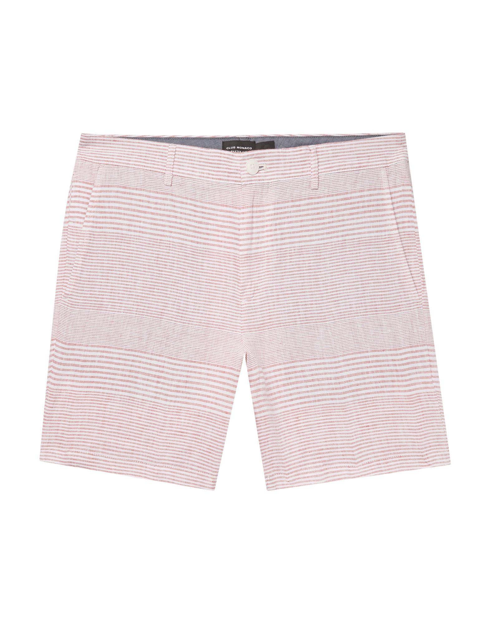 CLUB MONACO Shorts. plain weave, no appliqués, stripes, mid rise, multipockets, button, zip. 100% Flax