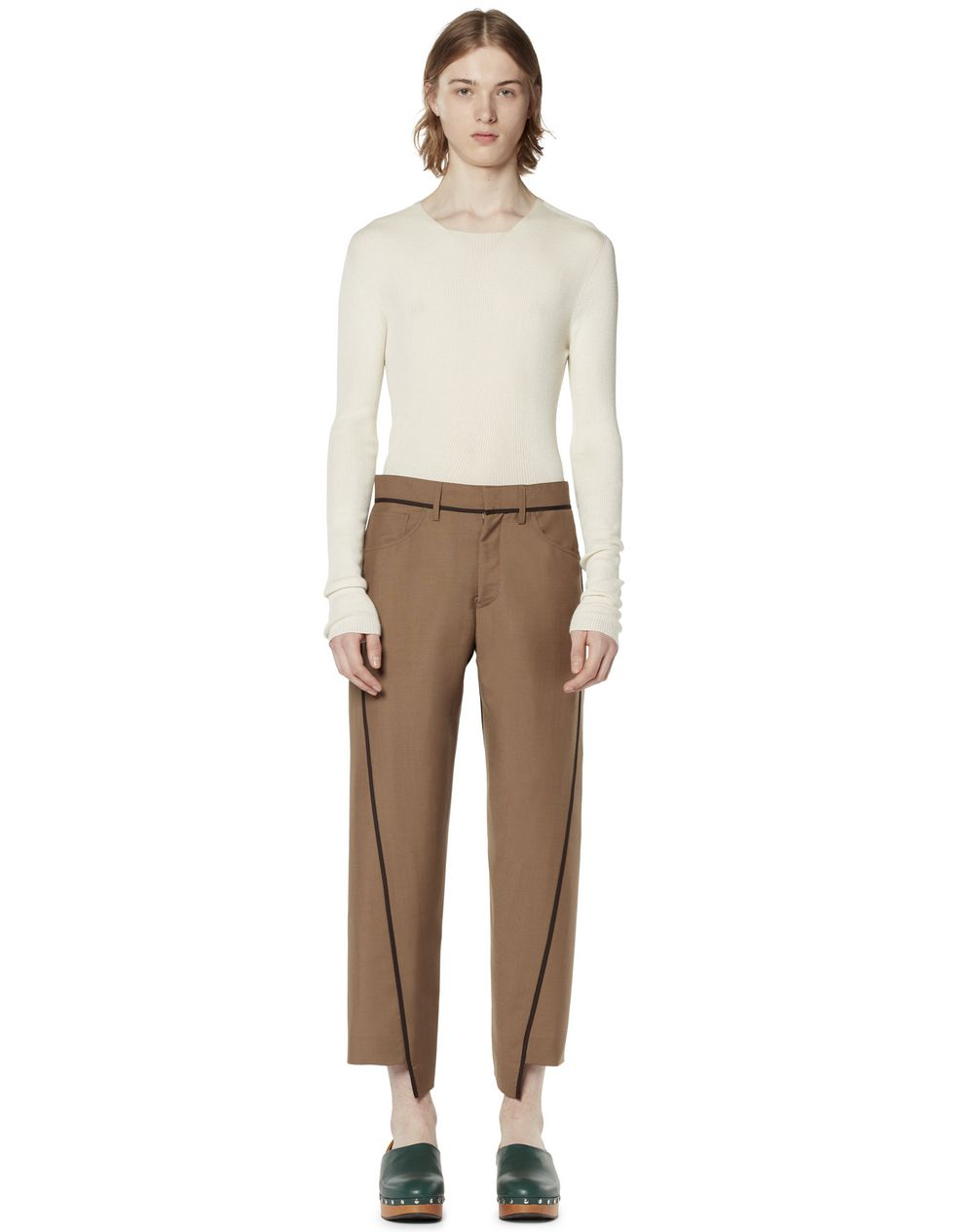 ASYMMETRICAL PANTS IN TOPSTITCHED WOOL - Lanvin