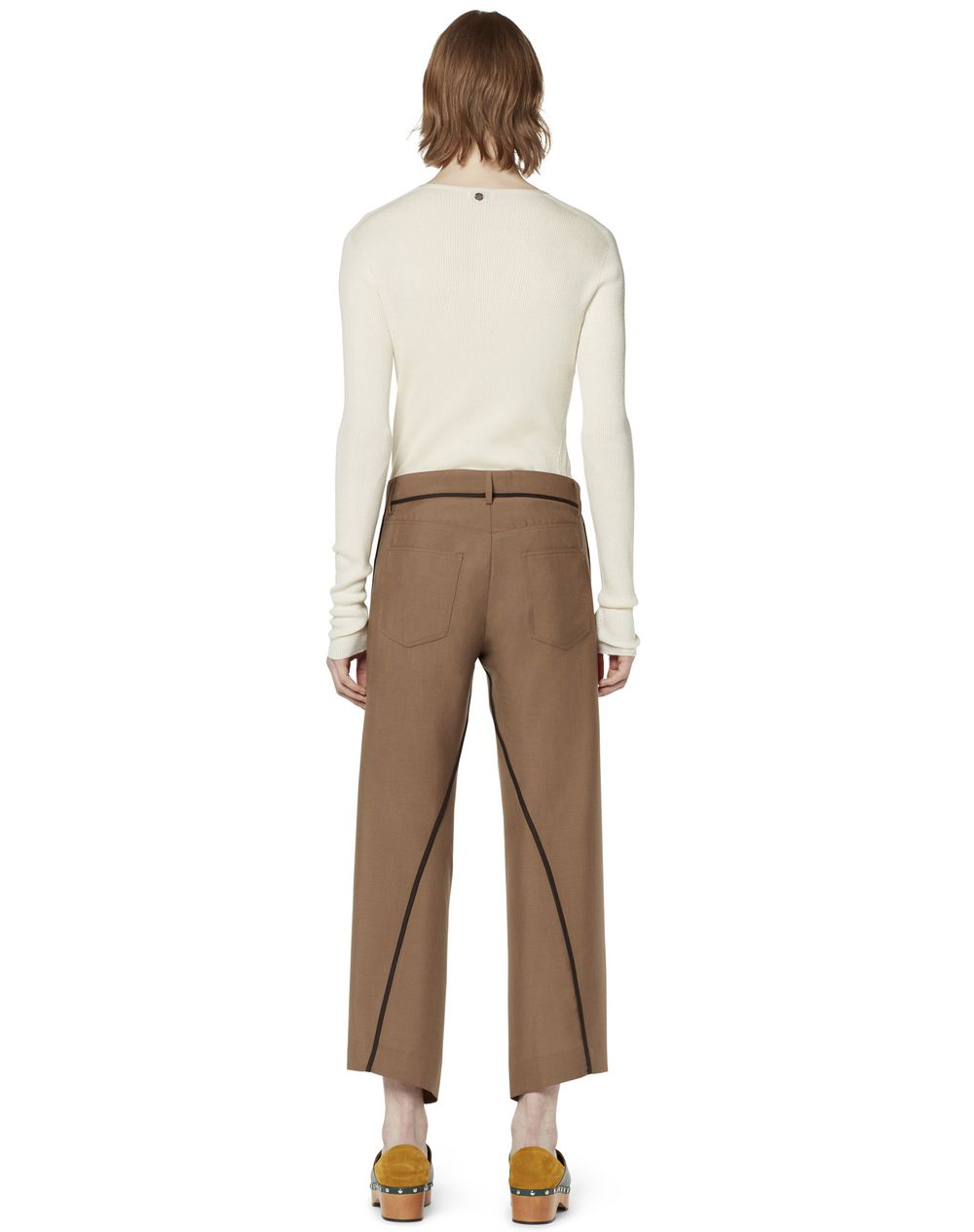 ASYMMETRICAL TROUSERS IN TOPSTITCHED WOOL - Lanvin
