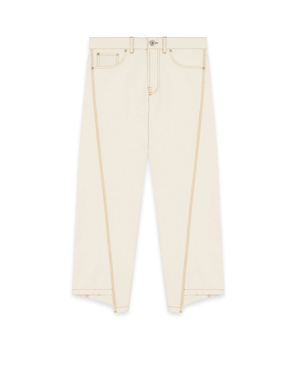 ASYMMETRICAL TROUSERS IN TOPSTITCHED DENIM - Lanvin