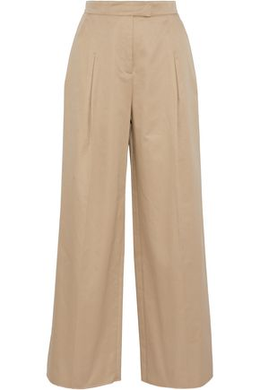 VALENTINO Pleated cotton-twill wide-leg pants
