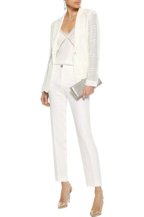Versace Woman Silk-Cady Slim-Leg Pants White