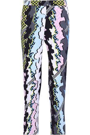VERSACE Printed crepe straight-leg pants