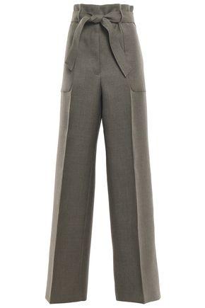 JIL SANDER Belted wool-twill wide-leg pants