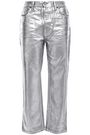 ACNE STUDIOS Coated metallic high-rise straight-leg jeans