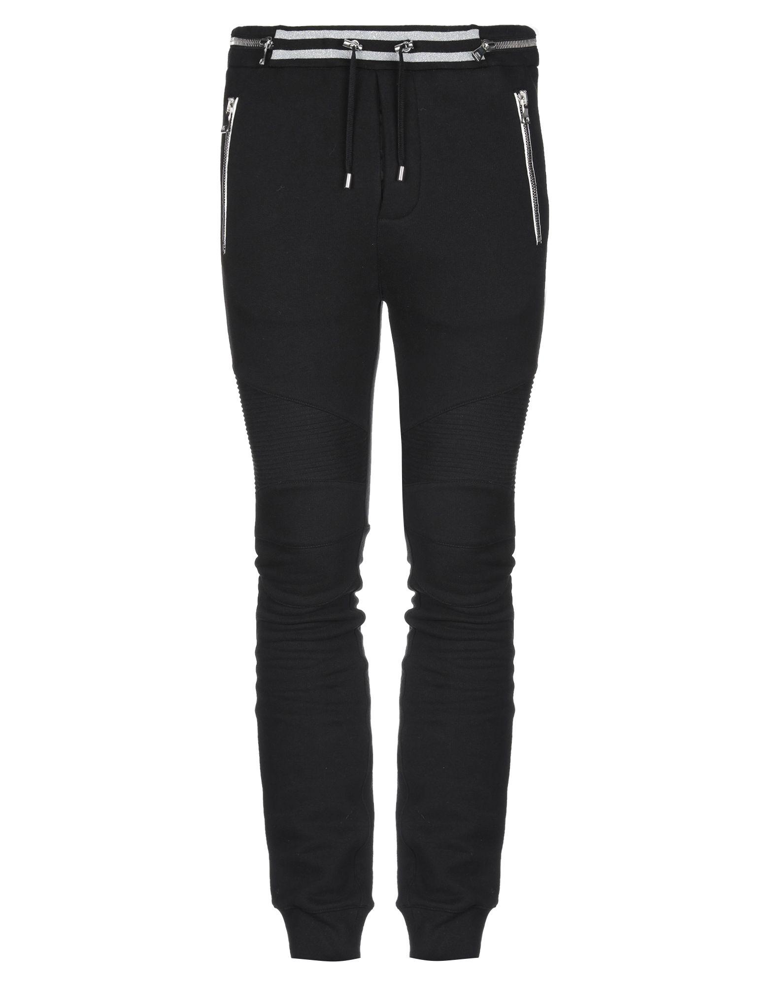 BALMAIN Casual pants. sweatshirt fleece, metal applications, solid color, high waisted, comfort fit, tapered leg, drawstring closure, multipockets, pocket with zipper, fleece lining. 100% Cotton
