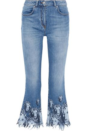 VERSUS VERSACE Distressed printed low-rise kick-flare jeans